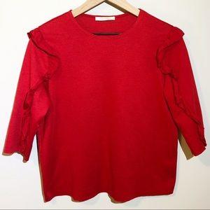 Zara   Red Ruffle Blouse